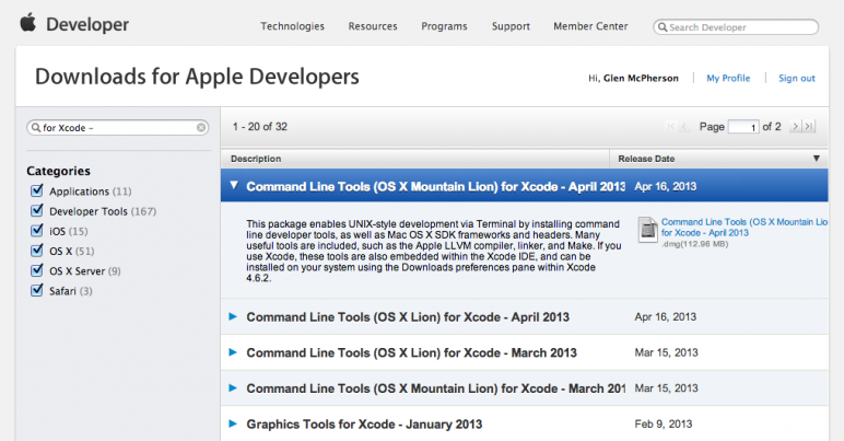 Apple Developer Downloads page