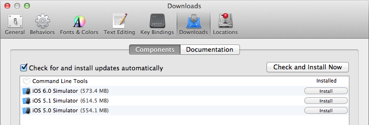Xcode Downloads Preferences