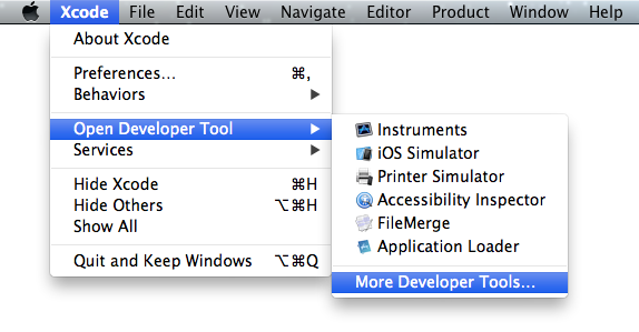 Xcode More Developer Tools Menu Option