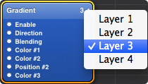 Select the Gradient layer menu