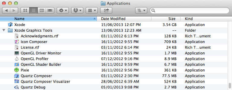 Copy Xcode Graphics Tools to the Applications Folder