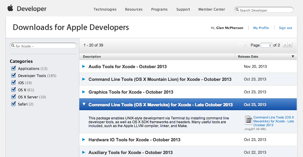 Install OS X Mavericks Command Line Tools for Xcode